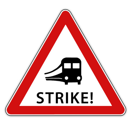 rail: Isolated red  white traffic sign with train  symbolic for rail strike