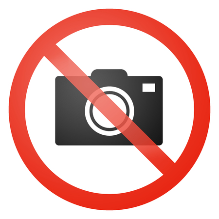 no cameras allowed: Photo not allowed sign - white background Stock Photo