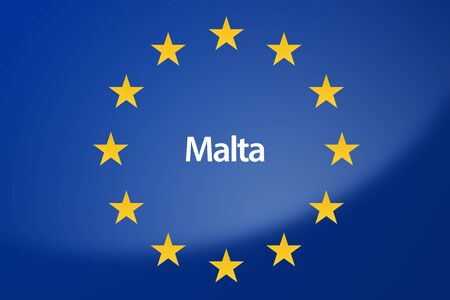 unification: Illustration of European Union flag - labeled with Malta