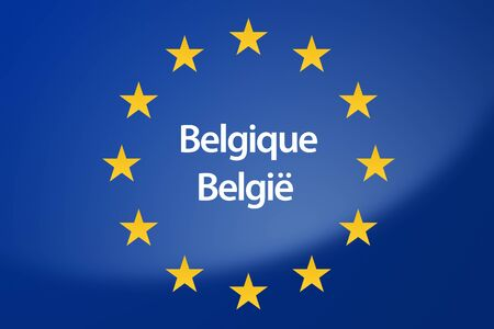 unification: Illustration of European Union flag - labeled with Belgium in belgian language