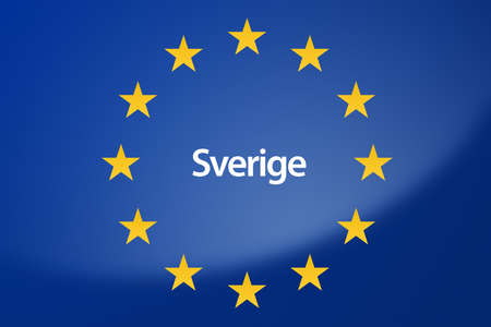 unification: Illustration of European Union flag - labeled with Sweden in swedish language Stock Photo