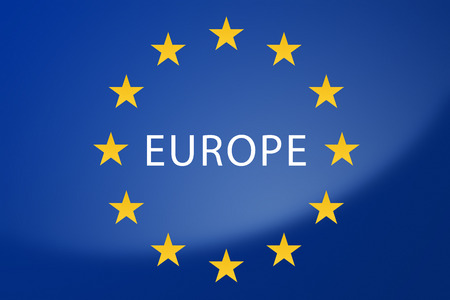 labeled: Illustration of European Union flag - labeled with Europe Stock Photo