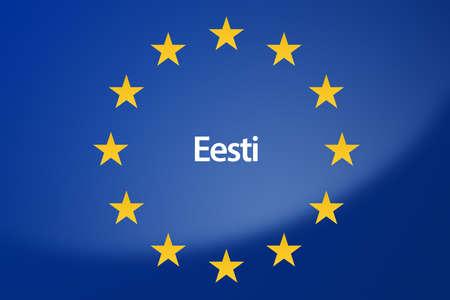 unification: Illustration of European Union flag - labeled with Estonia in estonian language