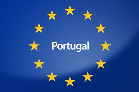 unification: Illustration of European Union flag - labeled with Portugal in portuguese language