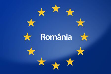 romanian: Illustration of European Union flag - labeled with Romania in romanian language