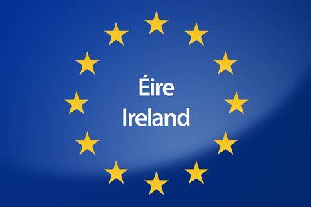 unification: Illustration of European Union flag - labeled with Ireland in irish language