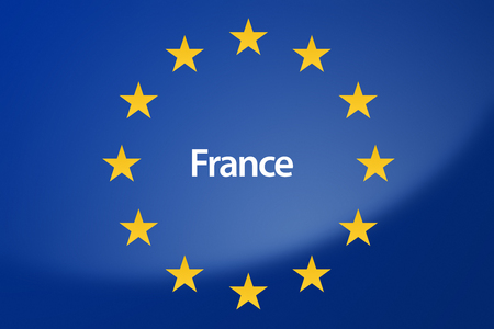 unification: Illustration of European Union flag - labeled with France on french language