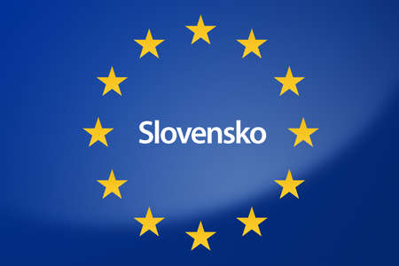 slovenian: Illustration of European Union flag - labeled with Slovakia in slovenian language