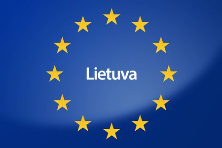 unification: Illustration of European Union flag - labeled with Lithuania in lithuanian language