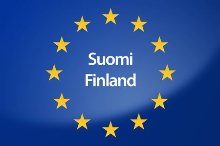 suomi: Illustration of European Union flag - labeled with Finland in finish language