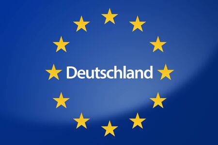 unification: Illustration of European Union flag - labeled with Germany in german language