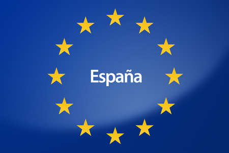 unification: Illustration of European Union flag - labeled with Spain in spanish language Stock Photo