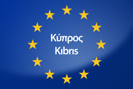 unification: Illustration of European Union flag - labeled with Cyprus