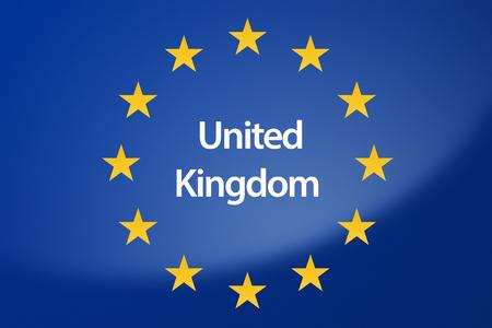 labeled: Illustration of European Union flag - labeled with United Kingdom