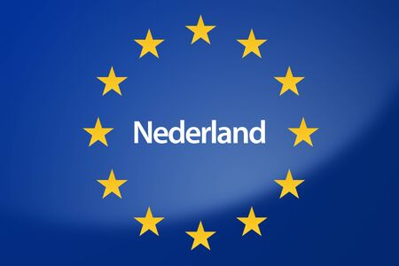 unification: Illustration of European Union flag - labeled with Netherlands in dutch language Stock Photo