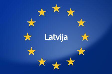 unification: Illustration of European Union flag - labeled with Latvia in estonian language