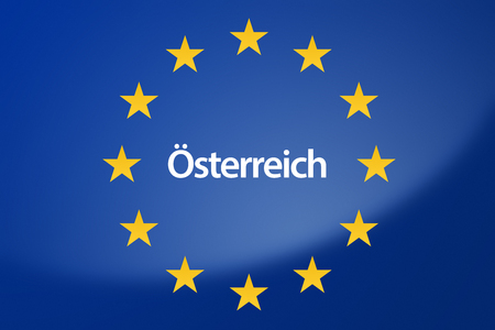 unification: Illustration of European Union flag - labeled with Austria in german language
