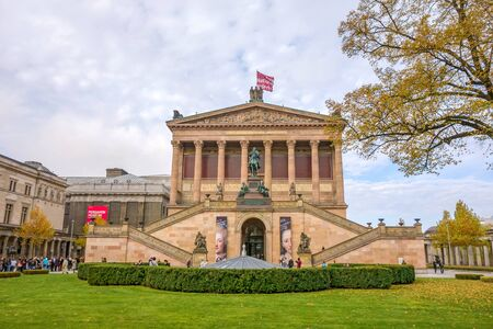 alte: Berlin, Germany - October 26, 2013: Exterior view of Alte Nationalgalerie (Old National Gallery) on the Museumsinsel in Berlin-Mitte. The Pergamon museum on the left in the background. Editorial