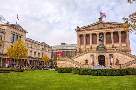 alte: Berlin, Germany - October 26, 2013: Exterior view of Alte Nationalgalerie (Old National Gallery) on the Museumsinsel in Berlin-Mitte. Neues Museum (New Museum) on the left, Pergamon museum in the background. Editorial
