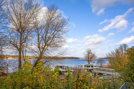 hinterland: Berlin, Germany - October 27, 2013: View over the Lake Wannsee - the biggest in the hinterland of Berlin.