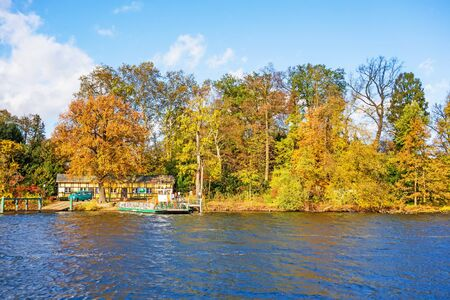 recreational area: Berlin, Germany - October 27, 2013: Ferry pier to the Island Pfaueninsel in lake Wannsee. A nearby recreational area of Berlin. Editorial