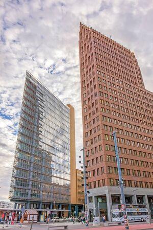 financial district: Berlin, Germany - October 28, 2013: Potsdamer Platz square - Kollhoff Tower - financial district of Berlin, Germany. Editorial
