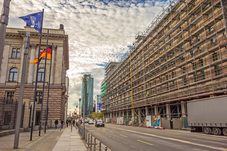 lords: Berlin, Germany - October 28, 2013: Street Leipziger Strasse  - view towards Potsdamer Platz square, German Bundesrat on the left. Editorial