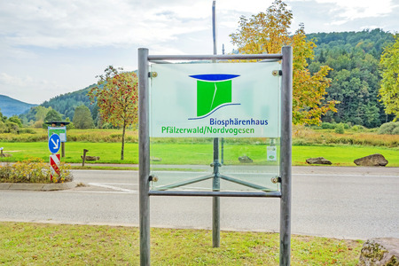biosphere: Fischbach bei Dahn, Germany - September 29, 2013: Biosphaerenhaus Pfaelzerwald  Nordvogesen (Biosphere house) sign. The entrance to the canopy pathway, a famous attraction.
