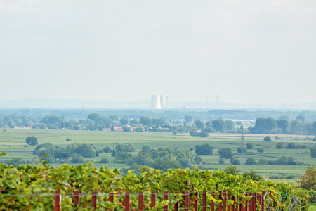 cooling towers: Cooling towers of the nuclear power plant in german city Philippsburg - View from afar Stock Photo