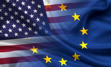 usa flags: Combined waving flags of USA and EU