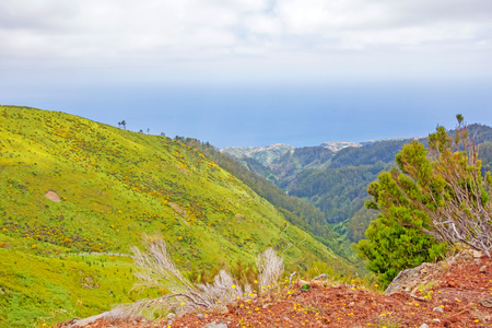 In the mountainous west of Madeira, Portugal - view towards the Atlantic Ocean, villages Jardim do Mar and Paul do Mar