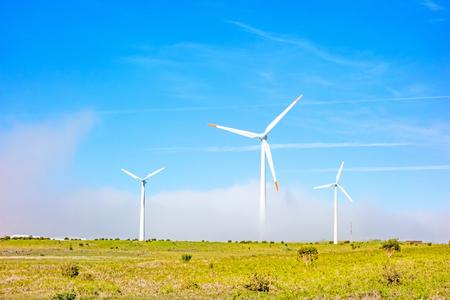 paisaje natural: turbinas de viento en el paisaje natural - prado verde