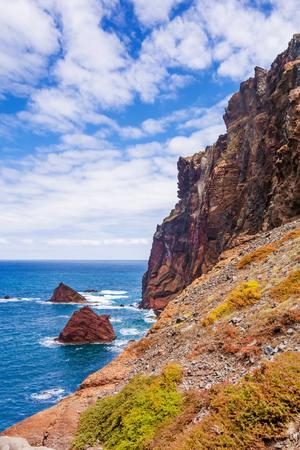 mountainous: Mountainous coast - peninsula Ponta de Sao Lourenco - east of Madeira Stock Photo