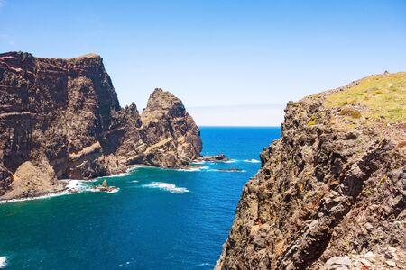 mountainous: Mountainous cliff coast - peninsula Ponta de Sao Lourenco - east of Madeira