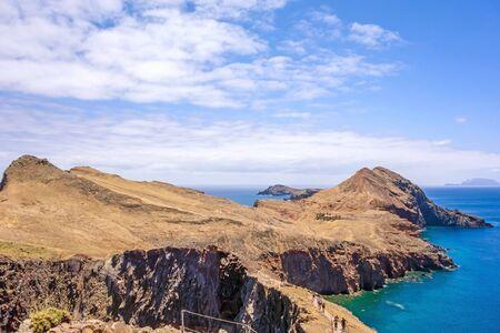 rambling: View towards rock gate Ponta do Furado - the most easterly point of Madeira - peninsula Ponta de Sao Lourenco