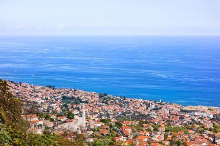 ropeway: City of Funchal, Madeira - view towards ropeway