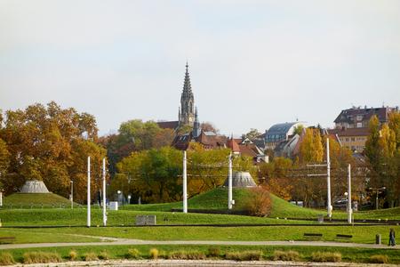 berger: Stuttgart, Germany - November 1, 2015: Berger Kirche (Church Berg) - view from Unterer Schlossgarten (Lower Castle Garden) Editorial