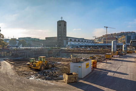 controversial: Stuttgart, Germany - November 1, 2013: Construction site Stuttgart 21. S21 is the most controversial railway project ever.