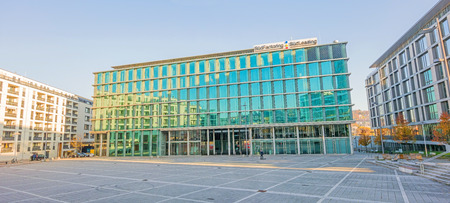 Stuttgart, Germany - November 1, 2013: Financial Institution Sud Factoring  Sud Leasing at square Pariser Platz. Part of the new city project Stuttgart 21.