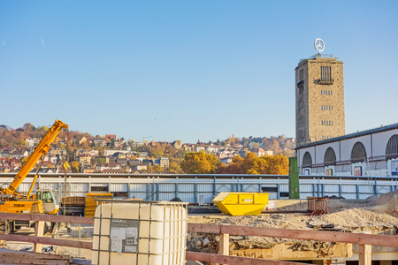 controversial: Stuttgart, Germany - November 1, 2013: Construction site Stuttgart 21 panorama photo. S21 is the most controversial railway project ever.