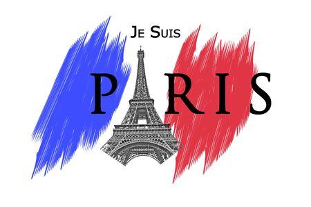 victim war: In memory of Paris terror attack November 13, 2015 - french flag Stock Photo
