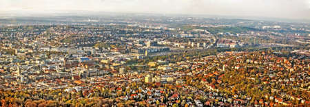 21: Panorama of german city Stuttgart, before construction project Stuttgart 21. Stock Photo