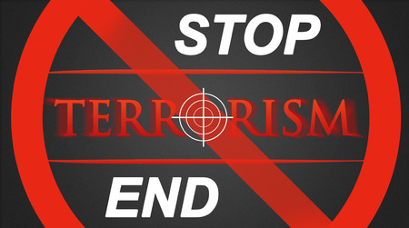 hairline: Terrorism illustration - white hairline cross in red lettering Stop  End
