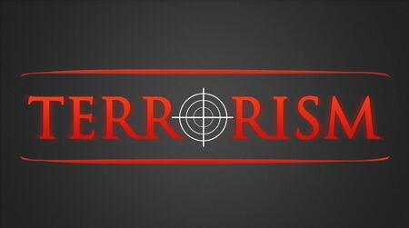 hairline: Terrorism illustration - white hairline cross in red lettering