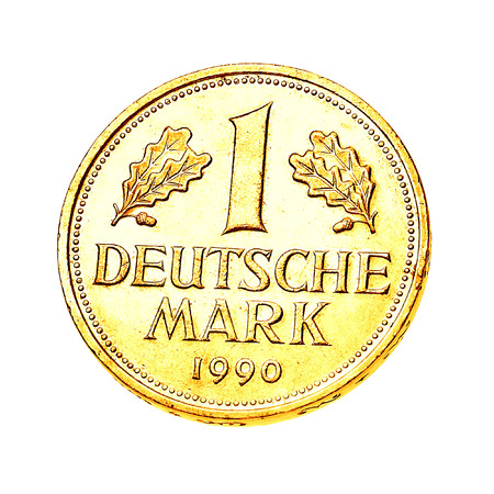 deutschemarks: one german gold mark isolated on white background