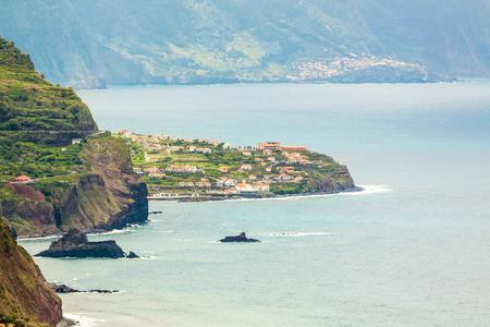 jorge: Coast near town Sao Jorge and Boaventura, Madeira - view from Lighthouse Ponta de Sao Jorge Stock Photo
