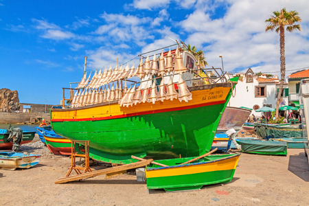 cat island: Camara de Lobos, Madeira - June 8, 2013: Cat shark drying at colorful fishing boat in port of the town. Typical for this region on Madeira island.