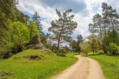 swabian: Path through the Wental valley at Swabian Alps near Steinheim and Bartholomae Stock Photo