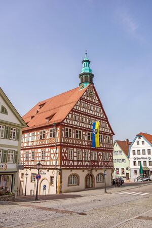 townhall: Backnang, Germany - April 3, 2016: City center with townhall and half-timbered houses