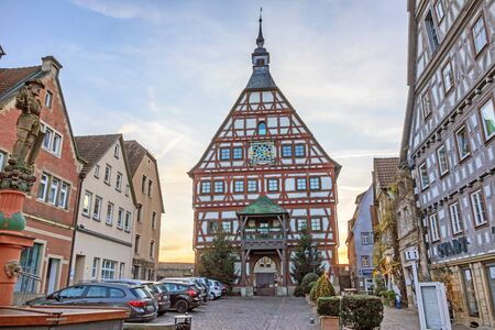 fachwerk: Besigheim, Germany - December 27, 2016: Townhall of Besigheim in the historic city district.
